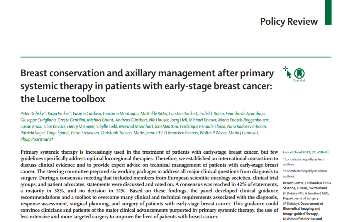 Breast conservation and axillary management after primary systemic therapy in patients with early-stage breast cancer: the Lucerne toolbox